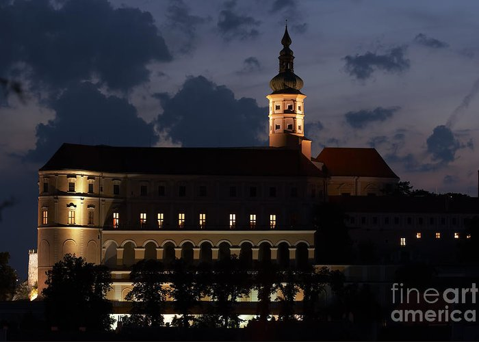 Mikulov Greeting Card featuring the photograph Mikulov Castle At Night by Michal Boubin