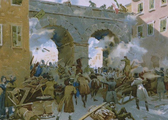 Male; Soldier; Soldiers; Nationalist; Nationalists; Italian Unification; Shooting; Barricades; Barricade; Bridge; Smoke; Uprising; Rebellion; Insurrection; Milan; Town; City; War Of Independence Greeting Card featuring the painting Milanese Chasing Out Austrians by Italian School