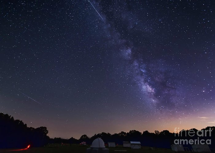 Astronomy Greeting Card featuring the photograph Milky Way And Perseid Meteor Shower by John Davis