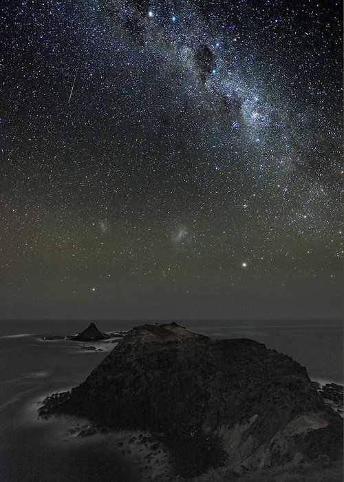Milky Way Greeting Card featuring the photograph Milky Way Over Phillip Island, Australia by Alex Cherney, Terrastro.com