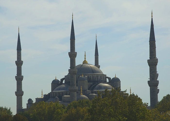 Blue Mosque Greeting Card featuring the photograph Minarets by Cheri Randolph