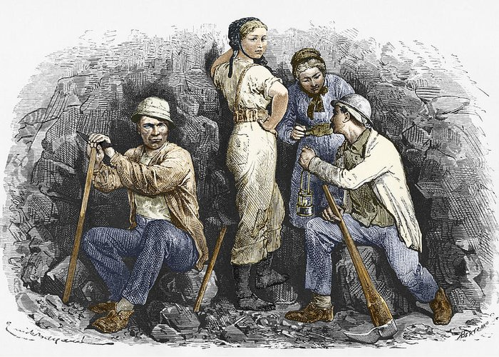 Human Greeting Card featuring the photograph Miners And Their Wives, 19th Century by Sheila Terry