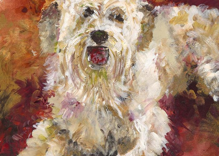 Dog Greeting Card featuring the painting Mini Doodle Impression by Karen Ahuja