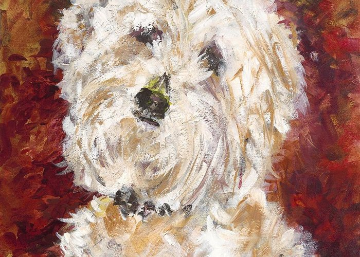 Dog Greeting Card featuring the painting Mini Doodle Portrait by Karen Ahuja