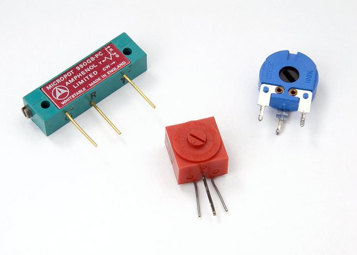 Resistor Greeting Card featuring the photograph Mini Pcb Potentiometers by Trevor Clifford Photography