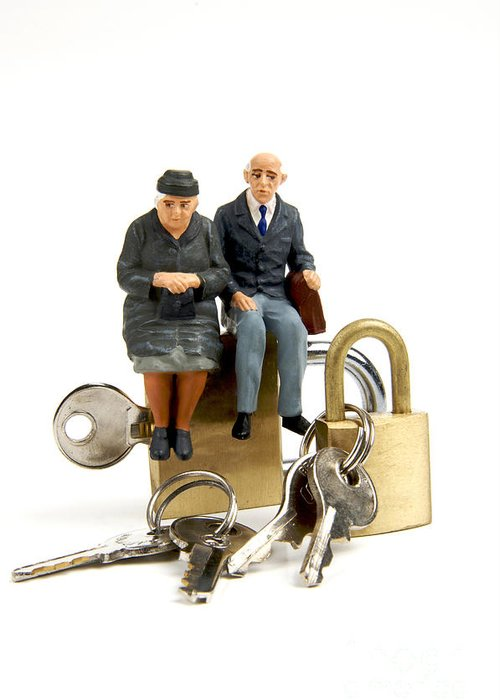 Ups Greeting Card featuring the photograph Miniature Figurines Of Elderly Couple Sitting On Padlocks by Bernard Jaubert