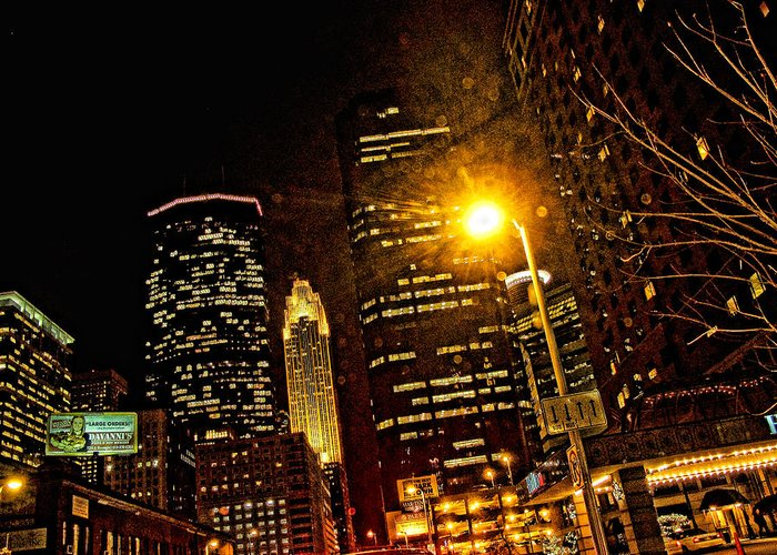 Mpls. At Night Greeting Card featuring the digital art Minneapolis Night Lights by Susan Stone