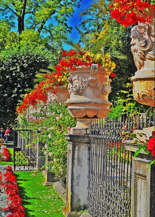 Mirabell Greeting Card featuring the photograph Mirabell Gardens In Salzburg Hdr by Mary Machare
