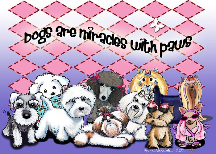 Cartoon Greeting Card featuring the mixed media Miracles With Paws by Catia Cho