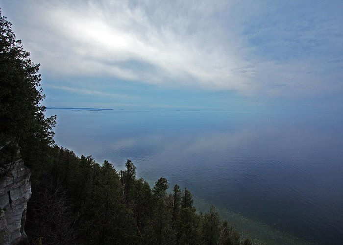 Door County Greeting Card featuring the photograph Mirror Clouds by Ty Helbach