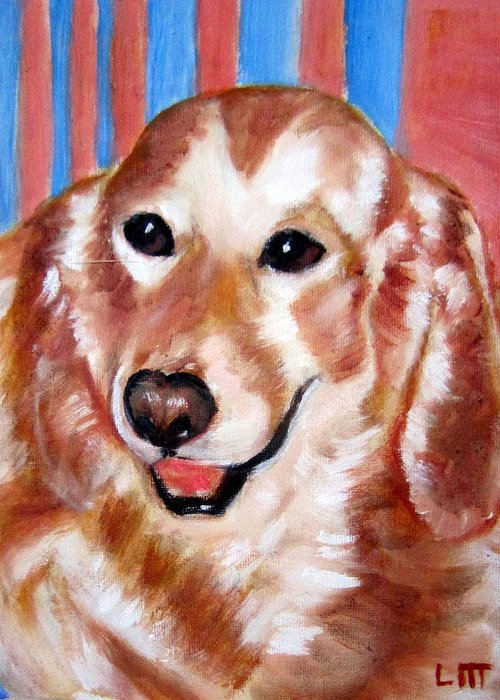 Pets Greeting Card featuring the painting Mirtilla by Lia Marsman