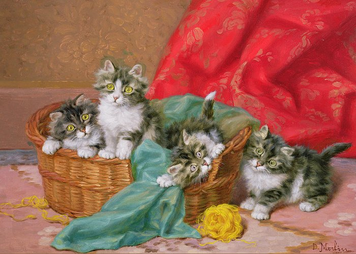 Wicker Basket; Wool Greeting Card featuring the painting Mischievous Kittens by Daniel Merlin