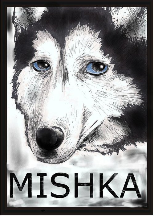 Mishka Animal Dog Talking Husk Poster Fan Ink Greeting Card featuring the drawing Mishka Fan Poster by Warren Lindsey