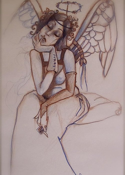 Angel Blues Greeting Card featuring the drawing Missing Him by Jackie Rock