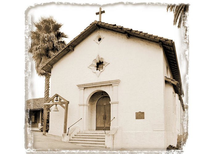 California Missions Greeting Card featuring the digital art Mission San Rafael Arcangel - II by Ken Evans