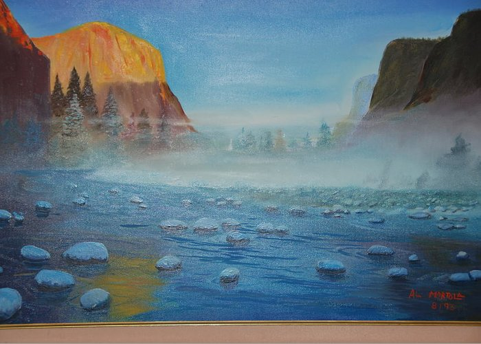 Landscape Greeting Card featuring the painting Misty Morning by Al Mortola