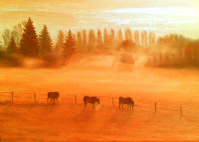 Misty Morning Greeting Card featuring the painting Misty Morning by Ronald Haber