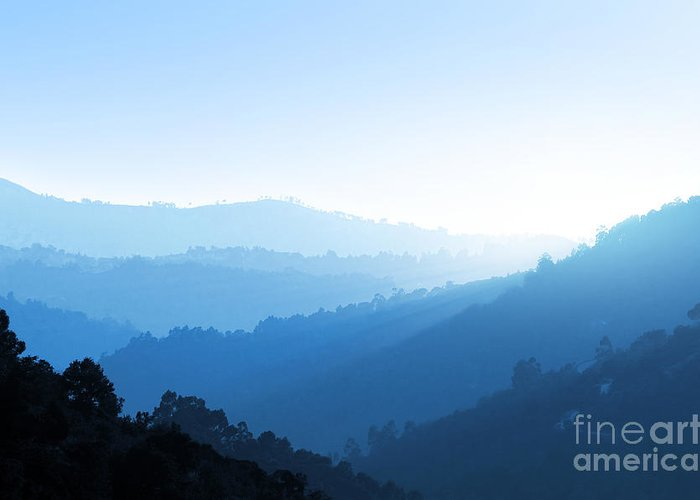 Background Greeting Card featuring the photograph Misty Valley by Carlos Caetano