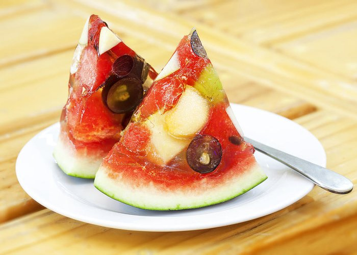 Dessert Greeting Card featuring the photograph Mixed Fruit Watermelon by Anek Suwannaphoom