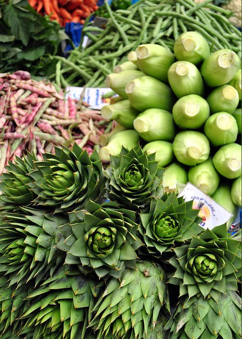 Artichoke Greeting Card featuring the photograph Mixed Vegetables. by Fernando Barozza