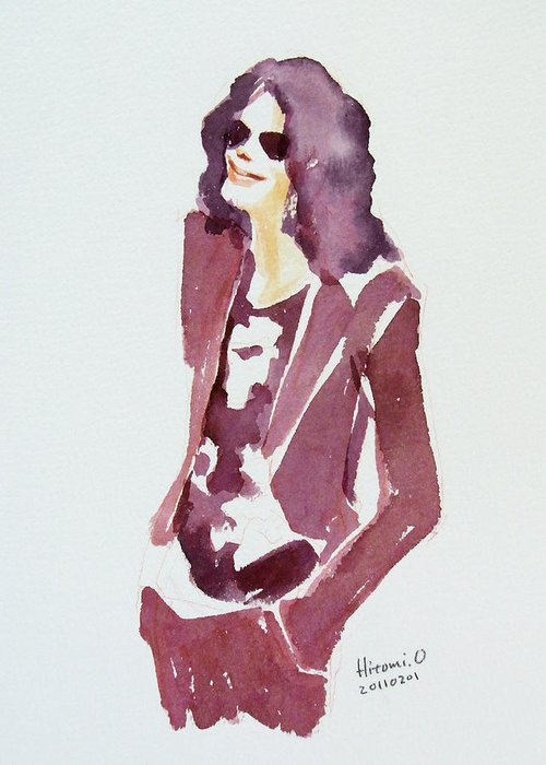 Michael Jackson Greeting Card featuring the painting Mj 2009 by Hitomi Osanai