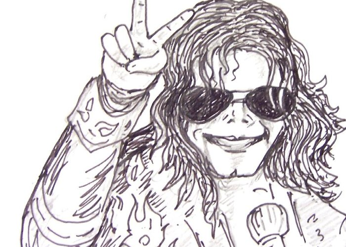 Pop King Greeting Card featuring the drawing MJ by Rajan V