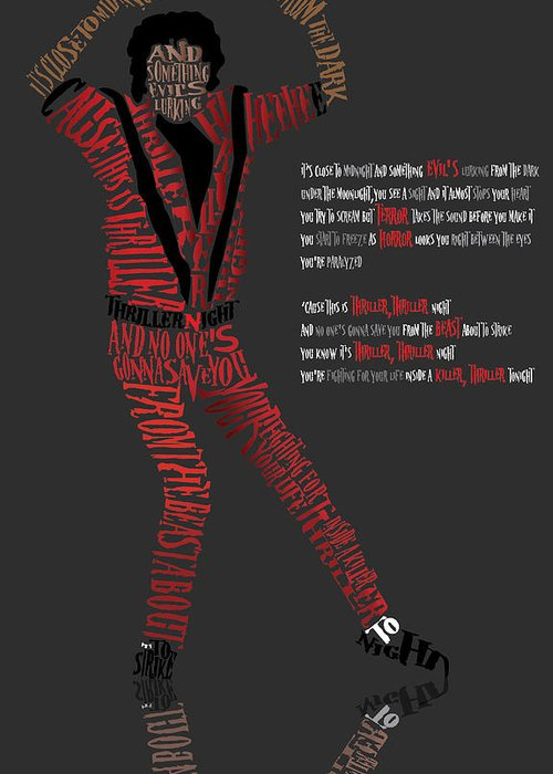 Celebrity Art Greeting Card featuring the digital art Mj_typography by Mike Haslam