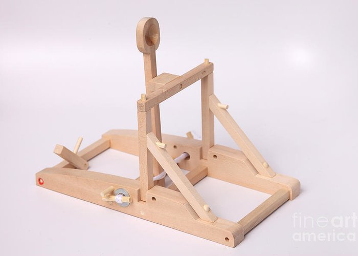 Catapult Greeting Card featuring the photograph Model Catapult by Ted Kinsman