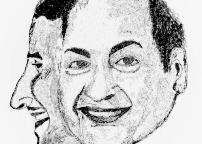 Mohammed Rafi Greeting Card featuring the drawing Mohammed Rafi Sketch Younger And Older by Ashok Naraian