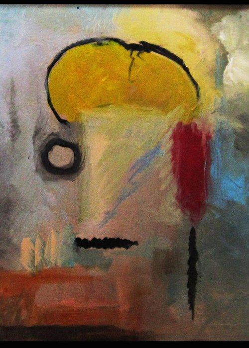 Abstract Greeting Card featuring the painting Mohawk Man by Snake Jagger