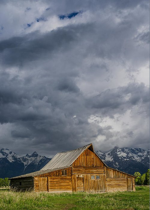 Grand Tetons National Park Greeting Card featuring the photograph Molton Barn And Approaching Storm by Greg Nyquist