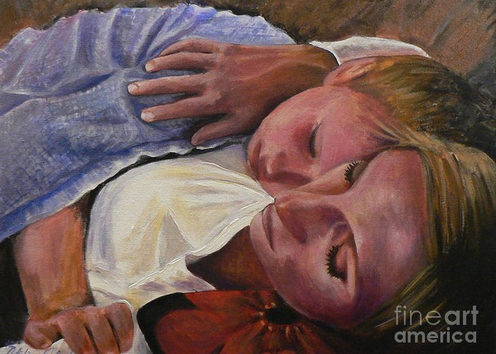 Commision Greeting Card featuring the painting Mom And Son by Catalina Rankin