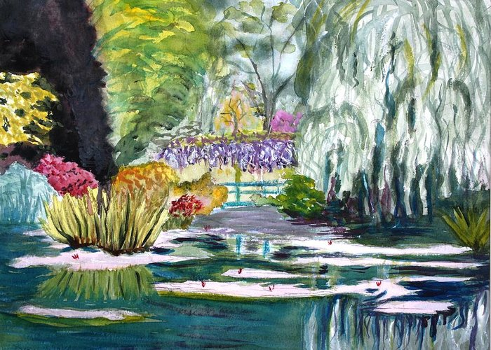 Monet Greeting Card featuring the painting Monet's Jardin De L'eau by Donna Walsh
