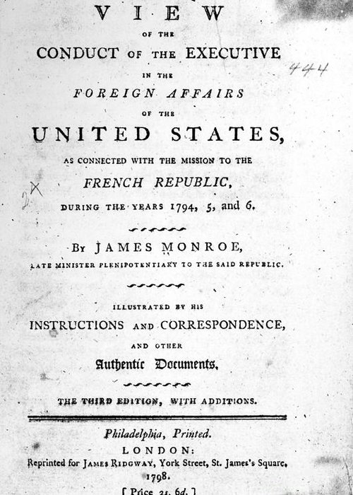 1798 Greeting Card featuring the photograph Monroe: Title Page, 1798 by Granger