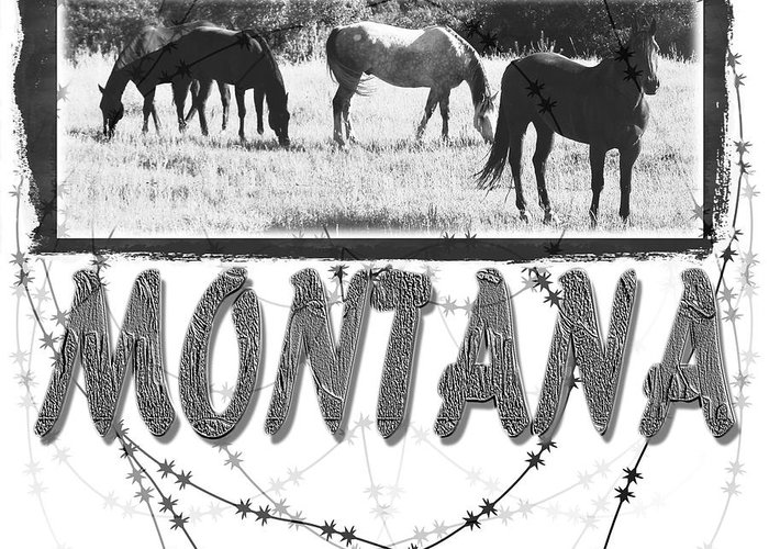 Montana Art Greeting Card featuring the digital art Montana Horse Design by Susan Kinney