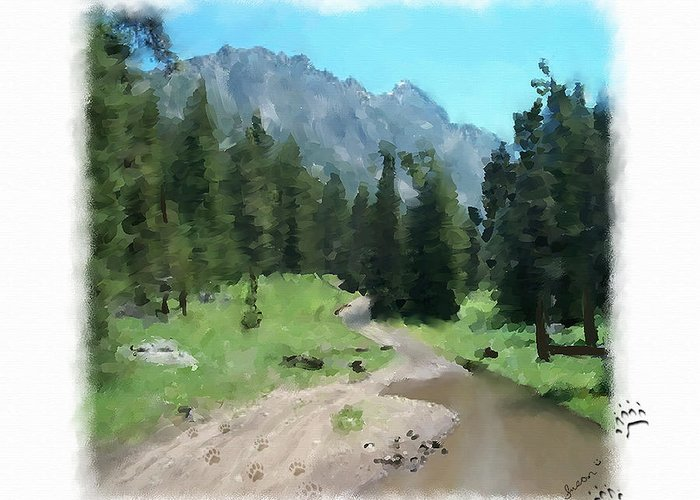 Digital Painting Greeting Card featuring the painting Montana Mudhole by Susan Kinney