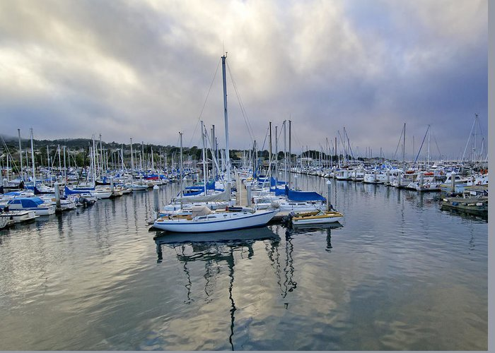 Blue Greeting Card featuring the photograph Monterey Harbor Marina - California by Brendan Reals