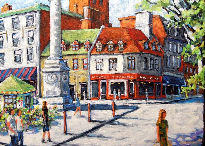 Urban Greeting Card featuring the painting Montreal Street Urban Scene By Prankearts by Richard T Pranke