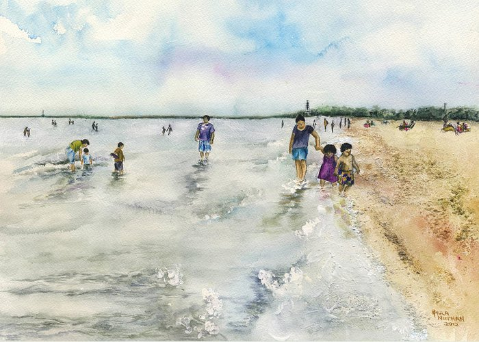 Watercolor Greeting Card featuring the painting Montrose Beach by Paula Nathan