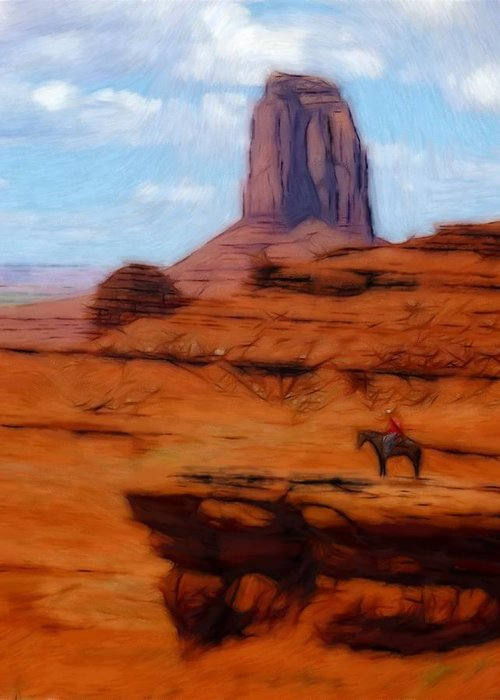 Monument Valley America Canyon Landscape Nature Drawing Painting Oil Pastel Greeting Card featuring the pastel Monument Valley Pastel by Steve K
