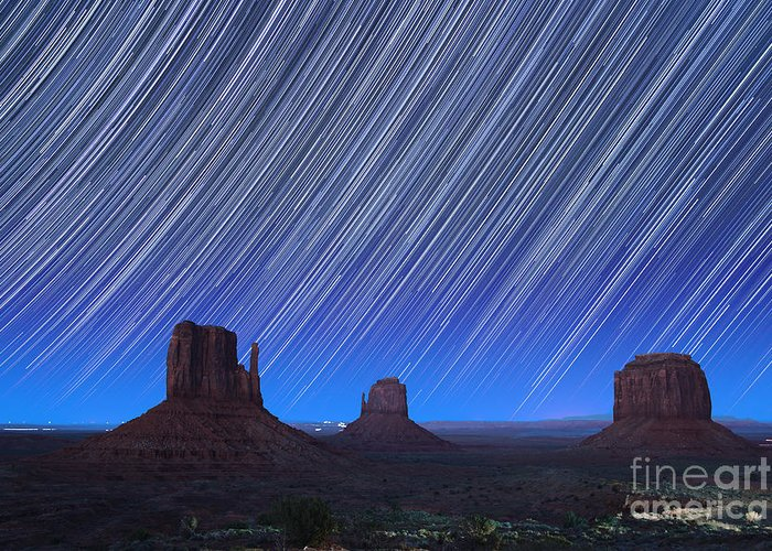 Abstract Greeting Card featuring the photograph Monument Valley Star Trails 1 by Jane Rix