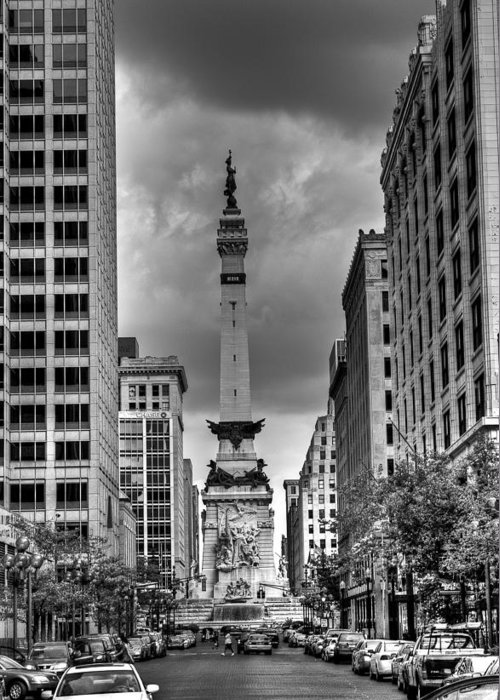 Black And White Greeting Card featuring the photograph Monument by Vinnie Oliveri