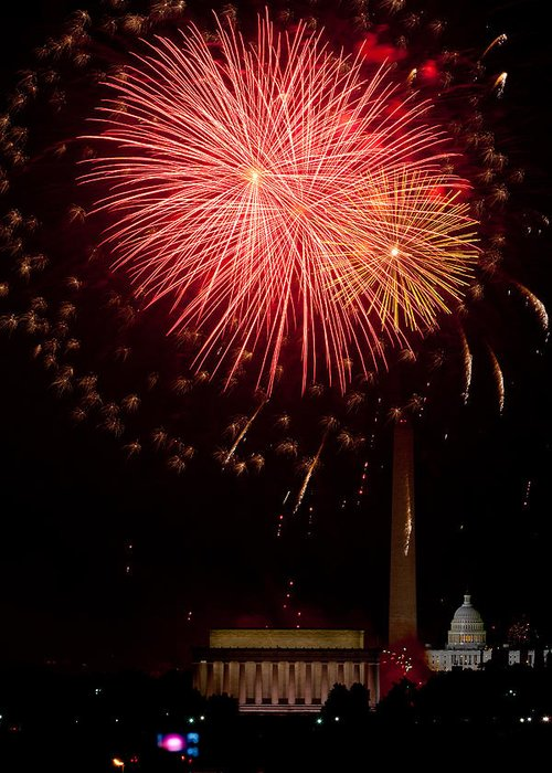 4th Of July Greeting Card featuring the photograph Monumental Celebration by David Hahn
