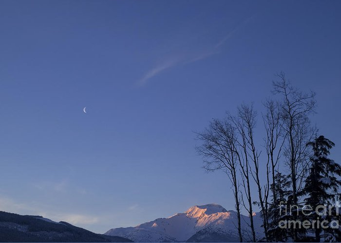 Alpenglow Greeting Card featuring the photograph Moon And Alpenglow by Yuichi Takasaka