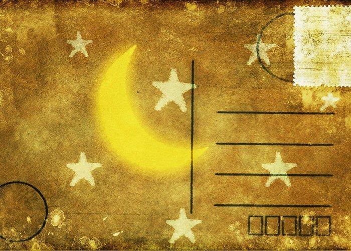 Address Greeting Card featuring the photograph Moon And Star Postcard by Setsiri Silapasuwanchai