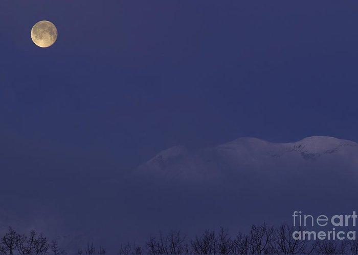 Scenic Greeting Card featuring the photograph Moon At Dawn by Yuichi Takasaka