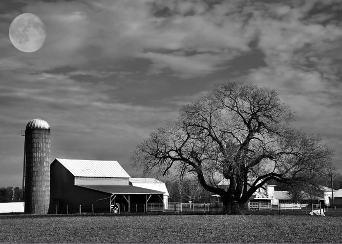 Full Moon Greeting Card featuring the photograph Moon Lit Farm by Todd Hostetter