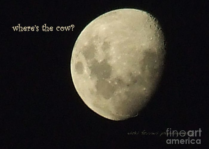 Birthday Greeting Card featuring the photograph Moon Missing Cow by Vicki Ferrari