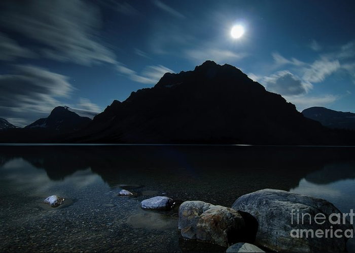 Alberta Greeting Card featuring the photograph Moon Over Bow by Ginevre Smith