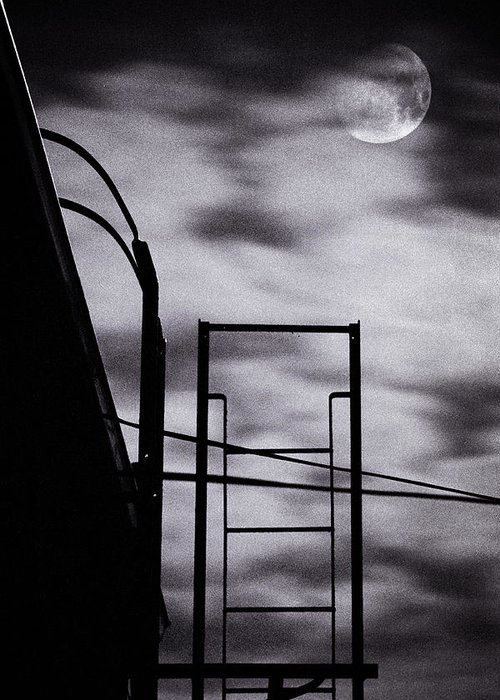 Brooklyn Greeting Card featuring the photograph Moon Over Brooklyn Rooftop by Gary Heller